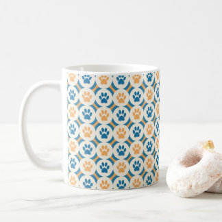 Paws-for-Coffee Mug (Mustard/Teal)