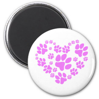 Paws Heart 6 Cm Round Magnet