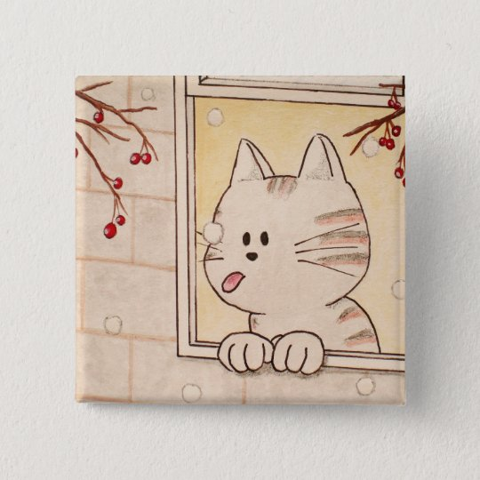"Paws Here Square Button Pin ""First Flake"""
