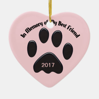 Paws In Memory of My Best Friend Ceramic Heart Decoration