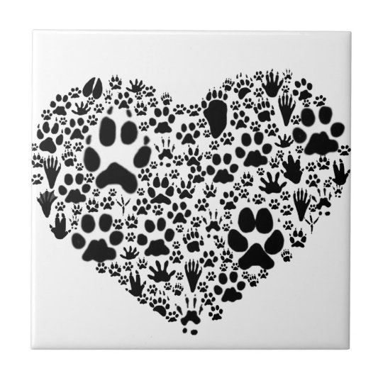 Paws of the Heart Small Square Tile