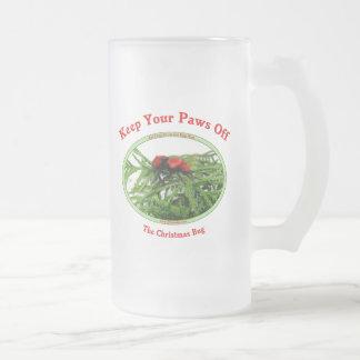 Paws Off Christmas Bug 16 Oz Frosted Glass Beer Mug