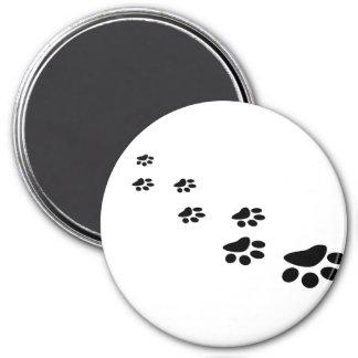 PAWS! (puppy dog paw prints) ~ 7.5 Cm Round Magnet