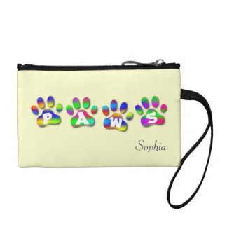 Paws Rainbow Color Paw Prints Key Coin Clutch Coin Wallets