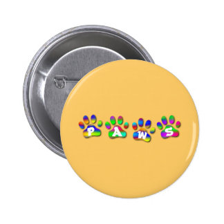 Paws Rainbow Color Pawprints 6 Cm Round Badge