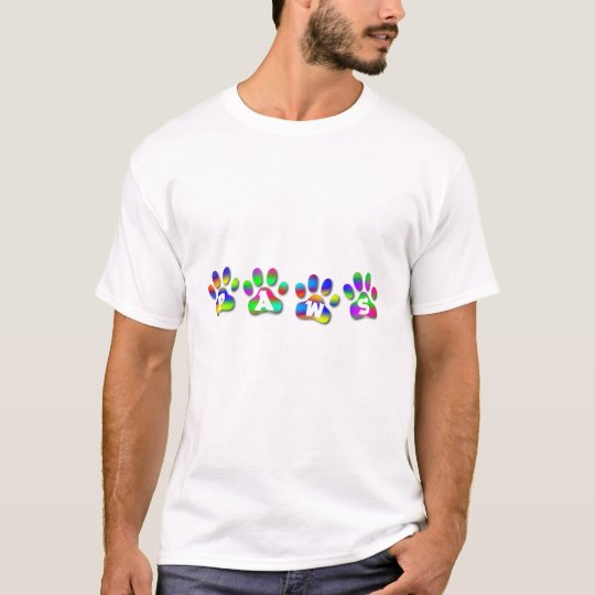 PAWS Rainbow colour paw prints Tee T Shirt