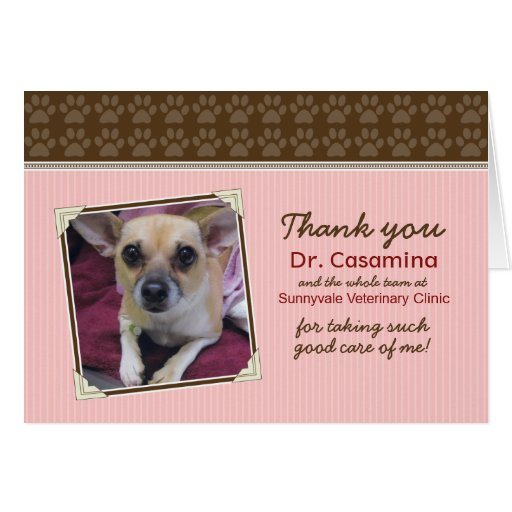 Paws Thank You Card for the Vet (pink/brown)