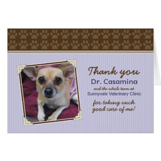Paws Thank You Card for the Vet purple brown