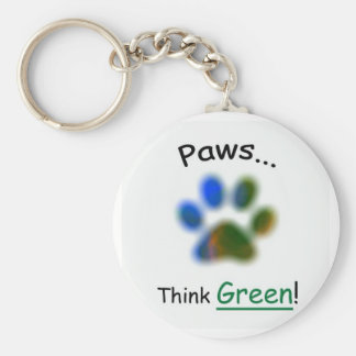 Paws...Think Green Basic Round Button Key Ring
