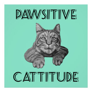 Pawsitive Cattitude Cat Poster