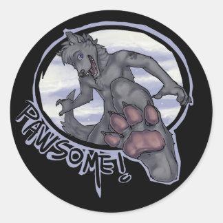 pawsome classic round sticker