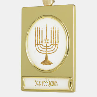 Paxspiration PAX VOBISCUM Hanukkah Banner Ornament Gold Plated Banner Ornament