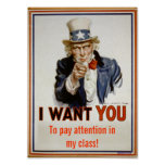 """Pay attention in class""  Poster"