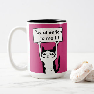 Pay attention to me board holding cat illustra Two-Tone coffee mug