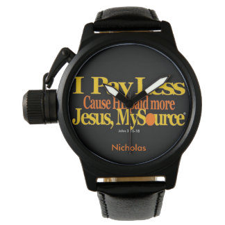 Pay Less Christian Personalized BlackLeather Watch