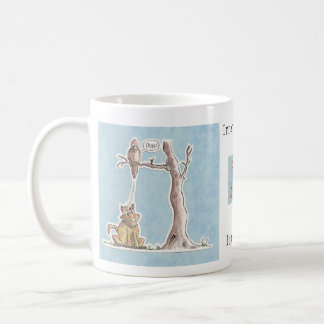 Payback Time - Bird dropping on Cat! Coffee Mug