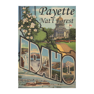 Payette Nat'l Forest, Idaho - Large Letter Scene Canvas Print