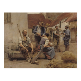 Paying the Harvesters, 1882 Postcard