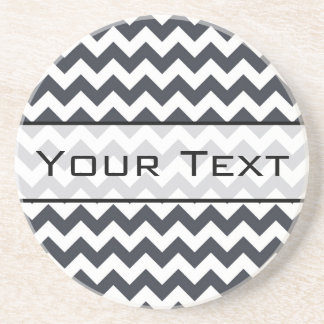Paynes Grey Chevron with Custom Text Beverage Coaster