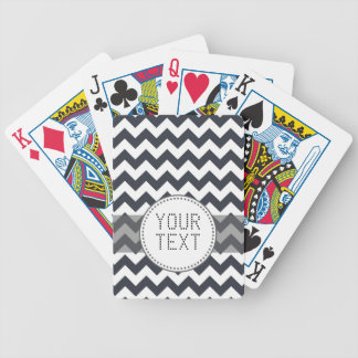 Paynes Grey Chevron with Custom Text Bicycle Playing Cards