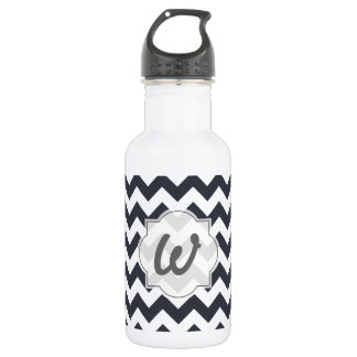 Paynes Grey Chevron with Custom Text 532 Ml Water Bottle