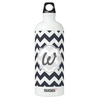Paynes Grey Chevron with Custom Text SIGG Traveller 1.0L Water Bottle