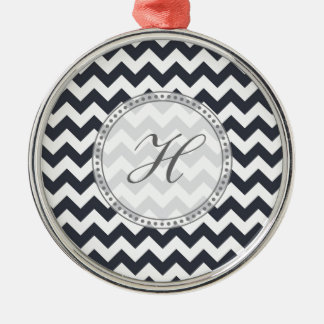 Paynes Grey Chevron with Custom Text Silver-Colored Round Decoration