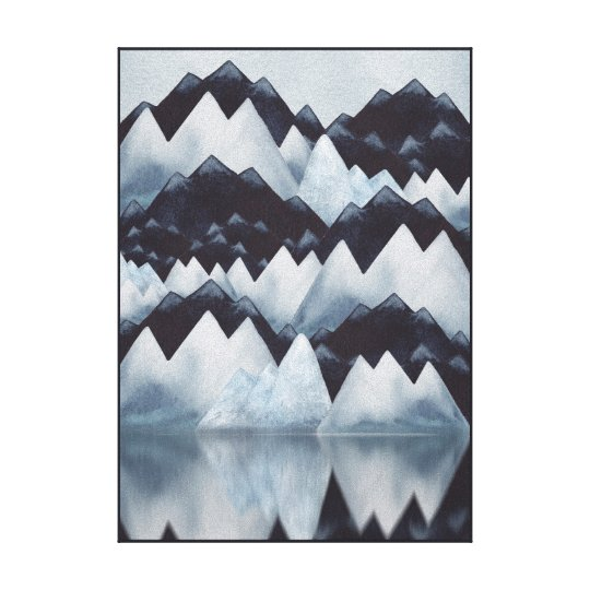 Paynes Grey Watercolor Mountains Canvas Print