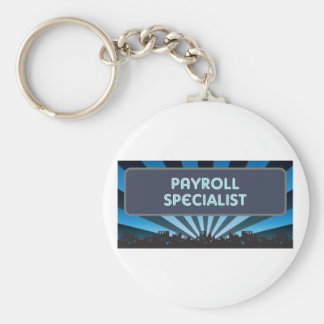 Payroll Specialist Marquee Basic Round Button Key Ring