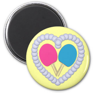 PB Ping Pong Paddle Heart 6 Cm Round Magnet