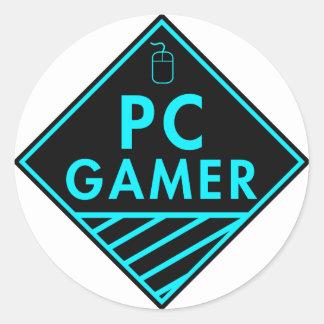 pc gaming (blue) round sticker
