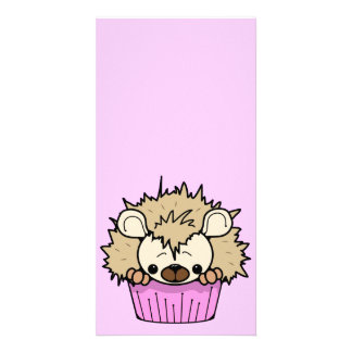 PCH CUTE CARTOON PASTEL PINK HEDGEHOG CUPCAKE HAPP PHOTO GREETING CARD