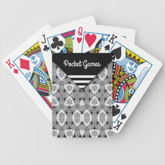 Pcket-look black and white pattern bicycle playing cards