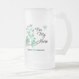PCOS Awareness I Wear PCOS Ribbon For My Hero 16 Oz Frosted Glass Beer Mug