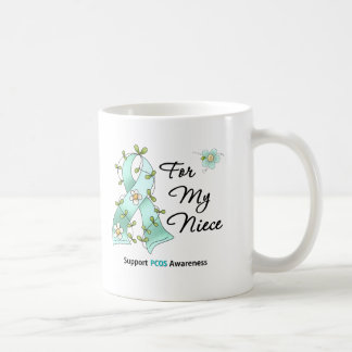 PCOS Awareness I Wear PCOS Ribbon For My Niece Basic White Mug
