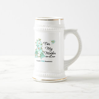 PCOS Awareness I Wear PCOS Ribbon  Mother-in-Law 18 Oz Beer Stein