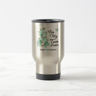 PCOS Awareness I Wear PCOS Ribbon Twin Sister 15 Oz Stainless Steel Travel Mug