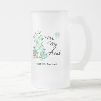 PCOS Awareness I Wear Teal Ribbon For My Aunt 16 Oz Frosted Glass Beer Mug