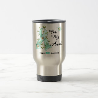 PCOS Awareness I Wear Teal Ribbon For My Aunt Stainless Steel Travel Mug