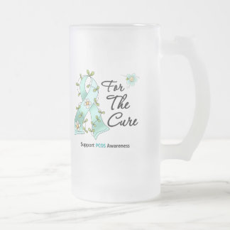 PCOS Awareness I Wear Teal Ribbon For the CURE Frosted Glass Mug