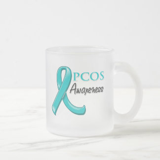 PCOS Awareness Ribbon Frosted Glass Mug