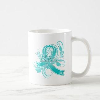 PCOS  Believe Flourish Ribbon Basic White Mug