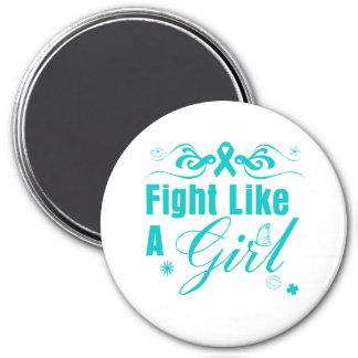 PCOS Fight Like A Girl Ornate Fridge Magnet