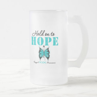 PCOS Hold On To Hope 16 Oz Frosted Glass Beer Mug