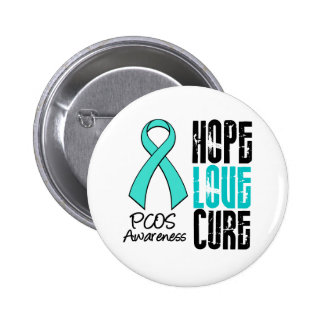 PCOS Hope Love Cure Ribbon Pinback Button