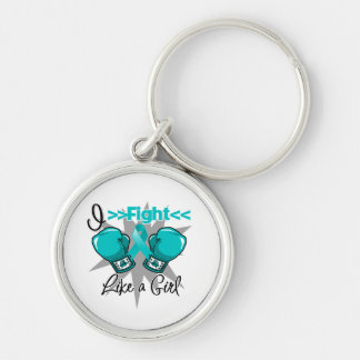 PCOS I Fight Like a Girl With Gloves Silver-Colored Round Key Ring