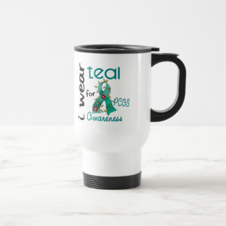 PCOS I Wear Teal For Awareness 43 Stainless Steel Travel Mug