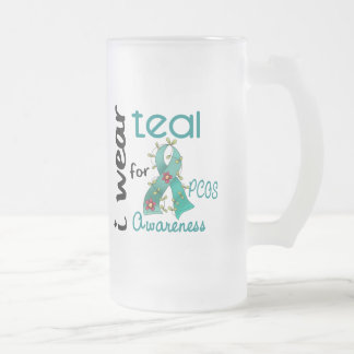 PCOS I Wear Teal For Awareness 43 16 Oz Frosted Glass Beer Mug