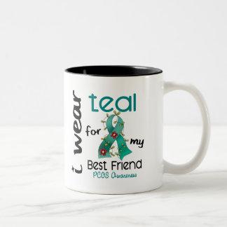 PCOS I Wear Teal For My Best Friend 43 Two-Tone Coffee Mug