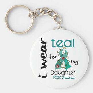PCOS I Wear Teal For My Daughter 43 Basic Round Button Key Ring